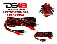 DS18 RCA3FT 3 ft 2 Channel Shielded Twisted RCA Audio Cable Amp Cables 2 Pack