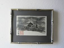 Vintage Japanese Tonal Gouache Watercolor Landscape Painting Signed, Sealed