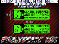 CAMERA EQUIPPED & RECORDING STICKERS X2 decal dvr car van bike truck bus GREEN