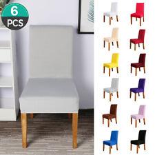 6Pcs Chaise Housse Simple Spandex Extensible Couverture de Chaise Resto Décor