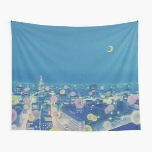 Sailor Moon Background City at Night Tapestries, Sailor Moon Wall Tapestry