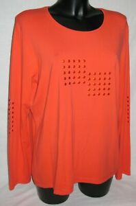 Tee-shirt  fluide manches longues strass clous  DEVERNOIS   Taille 46/48