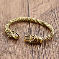 Öffnend Gold Viking Armband Bracelet Drache Kopf Für Unisex Modeschmuck Geschenk