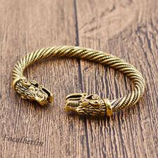 Viking Drache Kopf Armband Freundschaftsarmband Öffnend Gold Bracelet Für Unisex