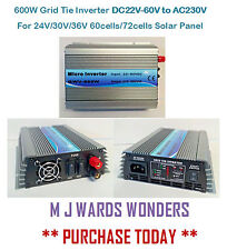 Inversor de cuadrículas de 600W DC22V-60V para panel solar células AC230V 24V/30V/36V 60/72