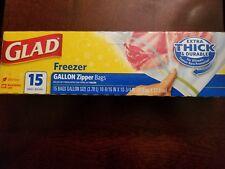 Glad Zipper Freezer Bags - 15 CT (Pack 12)