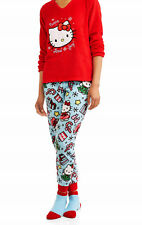 Womens Hello Kitty Pajamas Size LARGE Top/Pants/Socks Winter Red/Blue Set L NEW