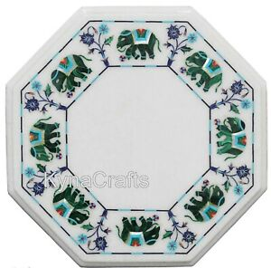 "13"" Marble Coffee Table Top with Elephant Design Side Table with Inlay Work"