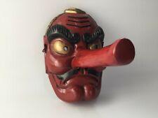 Giapponese di Legno Braggart Noh Maschera Tengu Vintage Rosso Viso Unico Interno