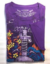 Express Men's Short Sleeve T- Shirt Purple Graphic Print M