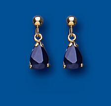 Sapphire Earrings Yellow Gold Drop Natural Sapphire