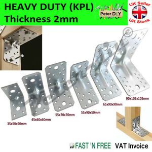 ANGLE BRACKET 2mm Thick HEAVY DUTY Corner Reinforced Galvanised Zinc Plated