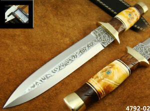 ALISTAR 11.9 HANDMADE ACID ETCH STAINLESS STEEL HUNTING DAGGER KNIFE 4792-2