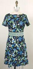 Tory Burch Women's Garden Wisteria Floral Paisley Flare Dress Navy/Green Sz XL
