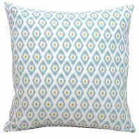 "Watercolour Ikat Diamond Cushion. 17x17"" Duckegg Mineral Blue 100% Cotton."