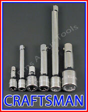 CRAFTSMAN HAND TOOLS 6pc LOT 1/4 3/8 1/2 Dr ratchet wrench socket extension set