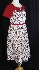 eShakti Retro Heart Custom Made Dress Size Print Vintage Style Flair Skirt S/M