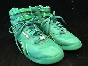 Reebok Classic Freestyle Green Leather High Top Retro Shoe Womens Us 9