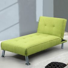 Modern Fabric Upholstered Chaise Lounge 1 Seater Single Sofa Bed Lime Green Grey