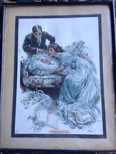 Print Their New Love Baby Birth Mother Harrison Fisher Original Framed Antique