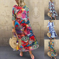 Womens Bohemia Printed Loose Flared Short Sleeve Plus Size Long Shirt Dress 5XL