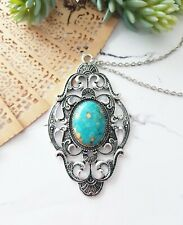 Large Vintage silver filligree blue turquoise stone sweater pendant necklace