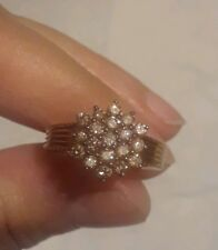 Champagne Diamond Ring. Sz 5. Englid 14kt Rose Gold Over SS.