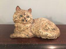 """Antique Cast Iron Hubley Marked Figural Cat Doorstop 10 1/2"""" Original Paint Nice"""