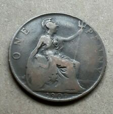 1907 Uk Great Britain British One 1 Penny Edward Vii Coin F