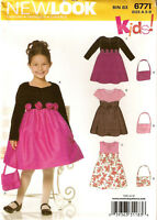 Girls New Look Dress Pattern 6771 Sweetheart Neckline Sleeve Variations Bag 3-8
