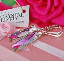 925 SILVER EARRINGS 25MM QUEEN BAGUETTE *VITRAIL LIGHT* CRYSTALS FROM SWAROVSKI®