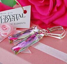 Pendientes de plata 925 25 mm Queen Baguette * vitrail Light * Cristales de Swarovski ®