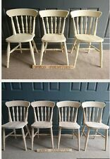 New Beech spindle back Dining Chairs Sprayed painted in cream RAPID DISPATCH