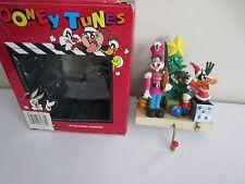 Vtg 1996 Looney Tunes Bugs Bunny & Daffy Duck Christmas Stocking Hanger Holder