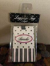 "NWT Ganz ""Brooke"" White & Black Polka Dot & Stripe LuggageTag Adjustable Strap"
