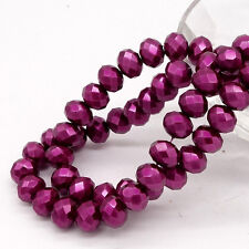 Wholesale 80pcs Faceted Rondelle Pearl Crystal Glass Loose Spacer Beads 8x6mm