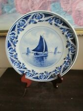 Delft Holland De Porceleyne Fles Hand Painted Blue Landscape Plate Flowers 9""