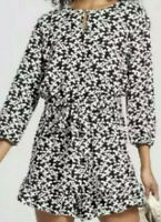 Who What Wear Women's Romper Black White Floral Print Size XXL Long Sleeve New