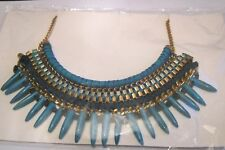 Lovely statement necklace gold tone metal and turquoise bead aztec 40 - 46 cm