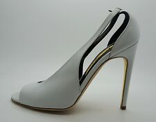 RUPERT SANDERSON White Leather Peep Toe High Heel Shoes 37.5 US 7.5 NEW $755