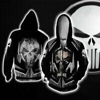 Marvel Punisher 3D Print Hoodie Men's Cosplay/Casual Zipper Jacket Sweatshirt