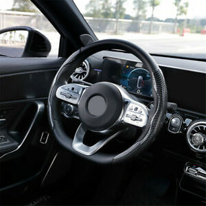 Carbon Fiber Look Non-Slip Steering Wheel Cover Booster Design For Universal Car