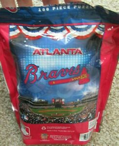 MasterPieces MLB Atlanta Braves Pouch 100 pc Jigsaw Puzzle Complete