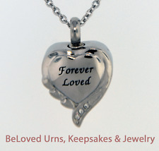 Fancy Forever Loved Heart Cremation Jewelry Keepsake Urn - Necklace and Funnel