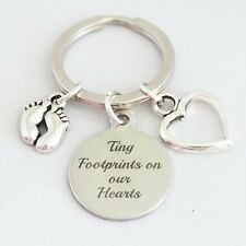 """""""Tiny Footprints on our Hearts"""" Baby Child memorial keepsake key ring alloy"""
