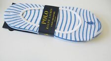 3 Polo Ralph Lauren Womens Solid & Striped Liner Socks Blue Sz 9-11 - New