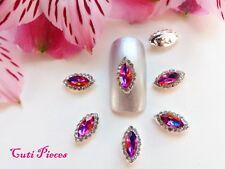 3D Nail Art Pink Purple Rhinestones Silver Frame Almond Jewels Gems Alloy Metal