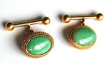 ANTIQUE SIGNED 24K GOLD CHINESE NATURAL UNTREATED APPLE GREEN JADEITE CUFFLINKS