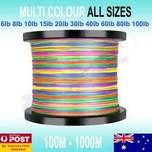 Multi Colour Braid Fishing Line 150m 300m 500m 1000m 6 10lb 15 20lb 50 60 80 100