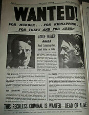 1939 Newspaper Britain Declares World War II on Germany Winston Chuchill I USA